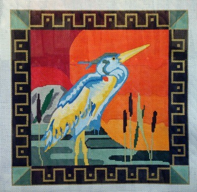 Bird at Sunset (Handpainted by Maps Designs)