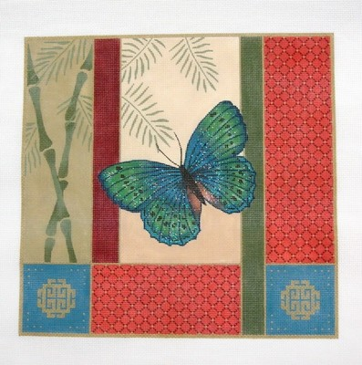 More Butterfly, Bamboo & Coins       (Handpainted by JP Needlepoint)