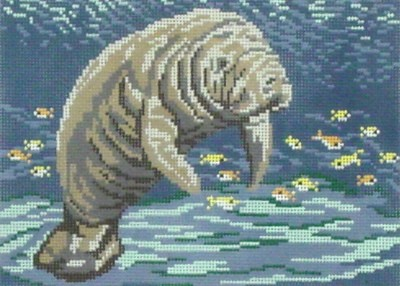 Manatee at Sea    (handpainted by Needle Crossing)