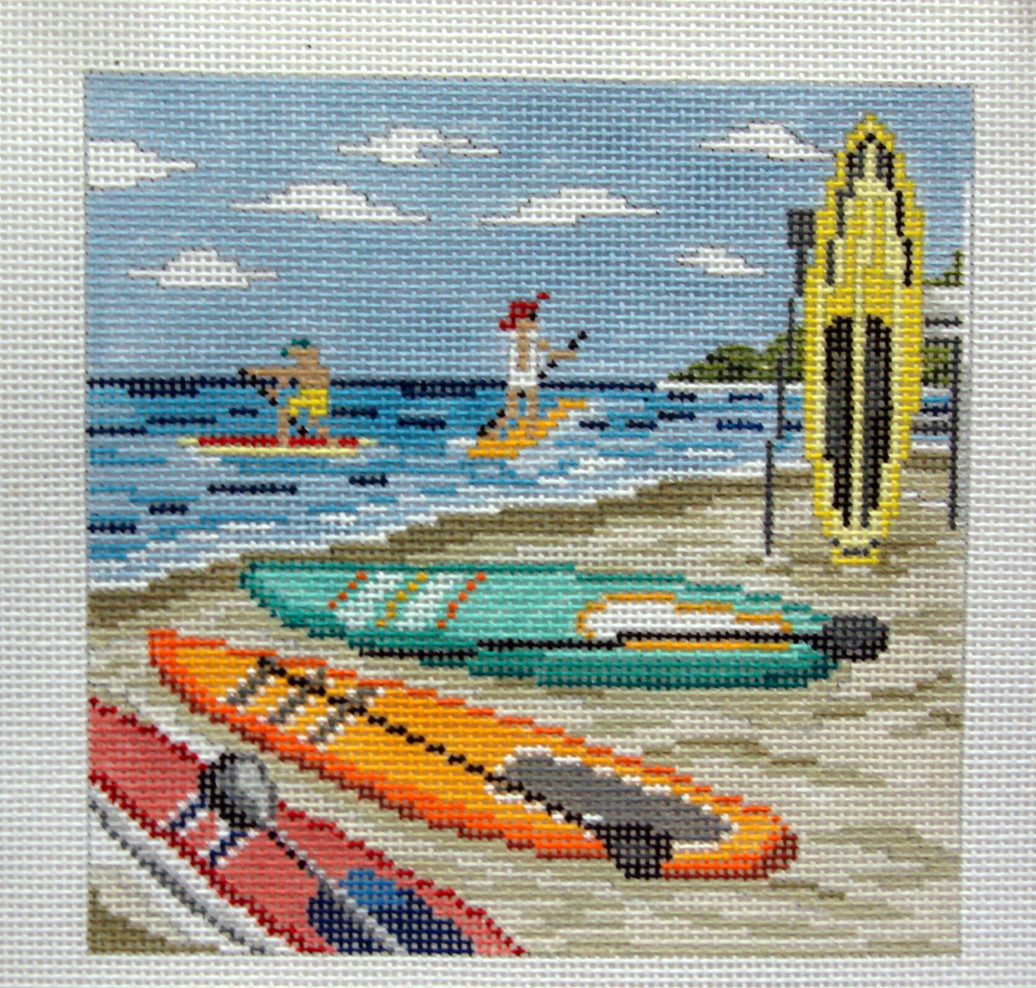 Paddle Boarding    (handpainted from Needle Crossing)