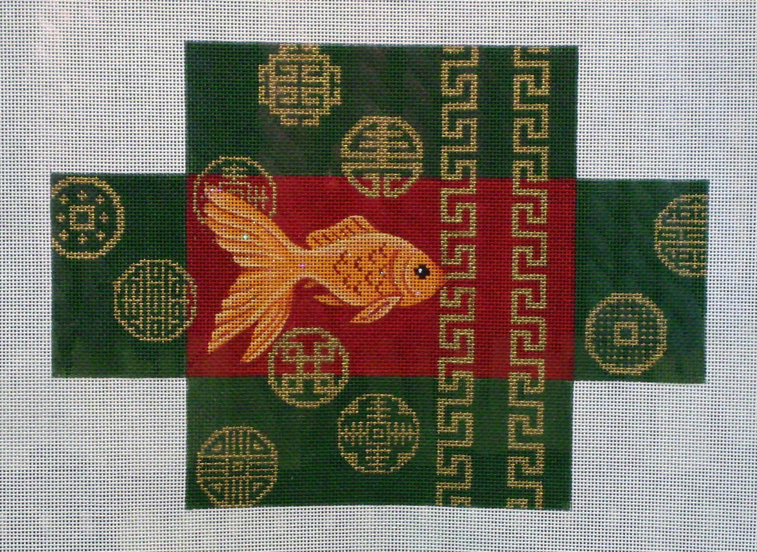 Goldfish & Coins Brick Cover    (Handpainted by JP Needlepoint)