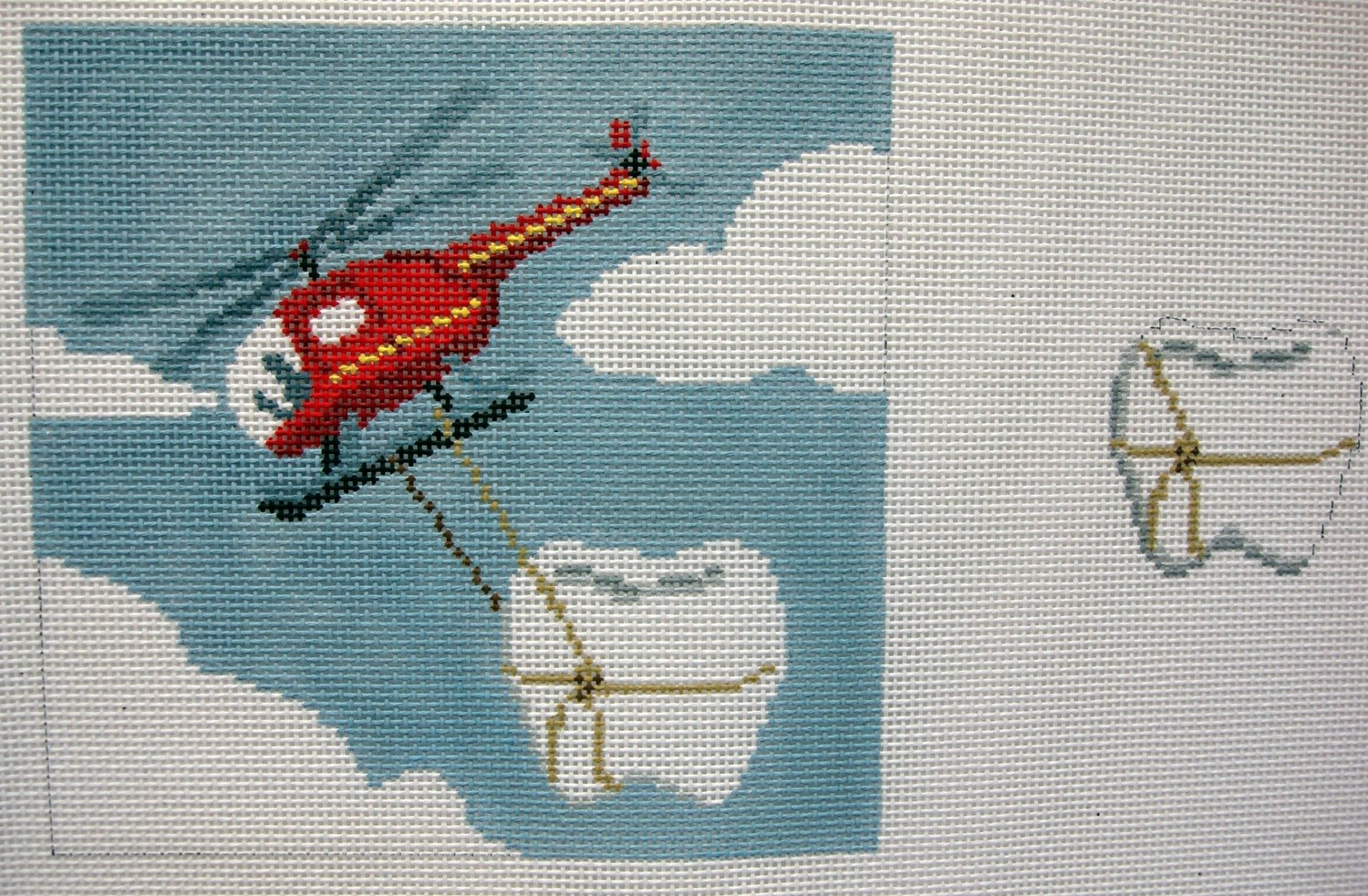 Helicopter Tooth Fairy Pillow   (handpainted by Susan Roberts)