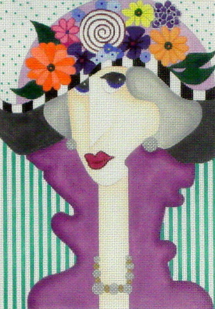 Lady with Flower Hat  (Handpainted by BB Needlepoint Designs)