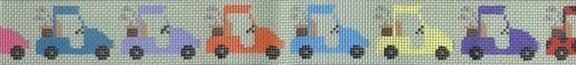 Parade of Golf Carts      (Handpainted by JP Needlepoint Designs)