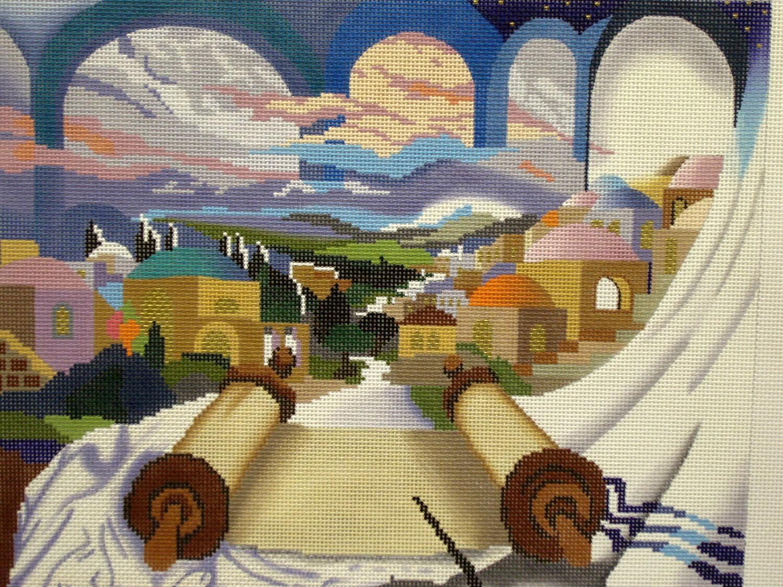 Touch of Torah Tallis Bag (Handpainted by Julia's Needlework)