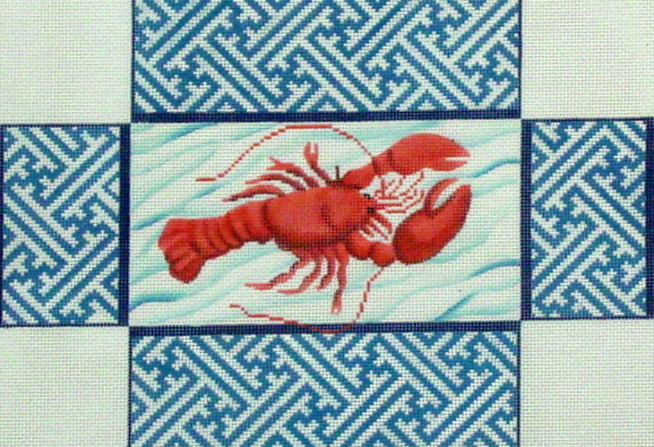 Lobster with Chinoiserie Brick Cover (Handpainted by Kate Dickerson Needlepoint Collection)