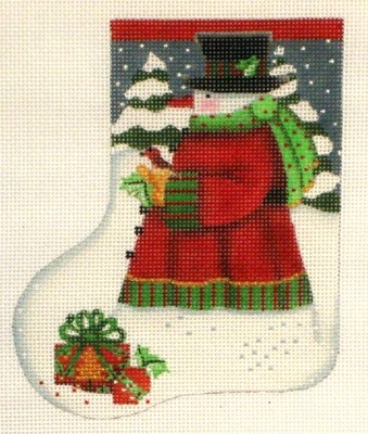 Red Bird Snowman Mini Sock   (hand painted from Melissa Shirley)