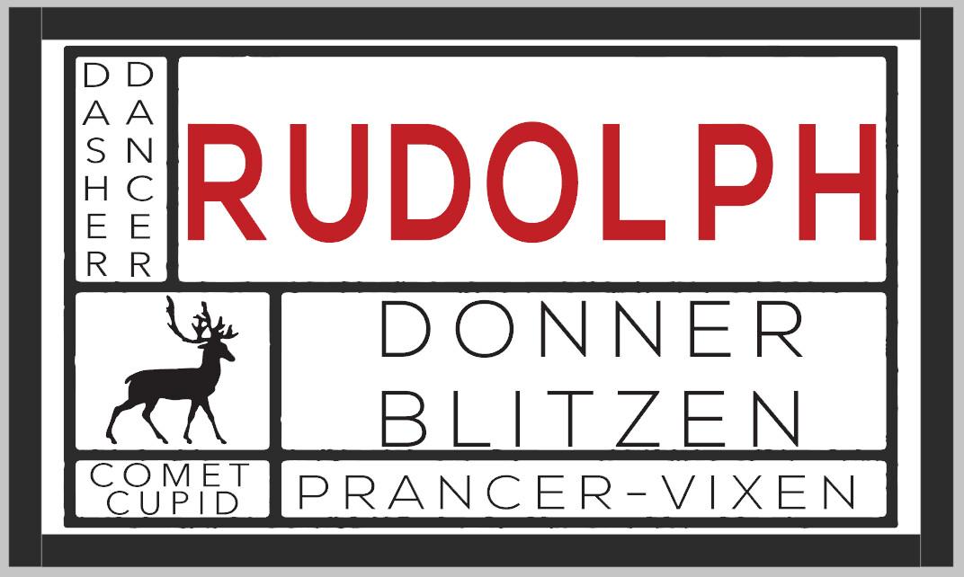 Rustic Reindeer Names Framed