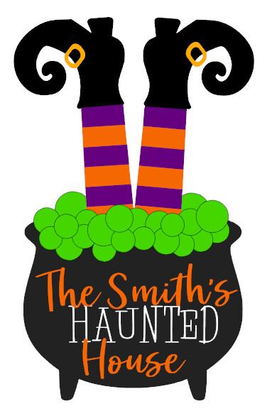 Witches Legs Haunted Halloween Wood Door Hanger
