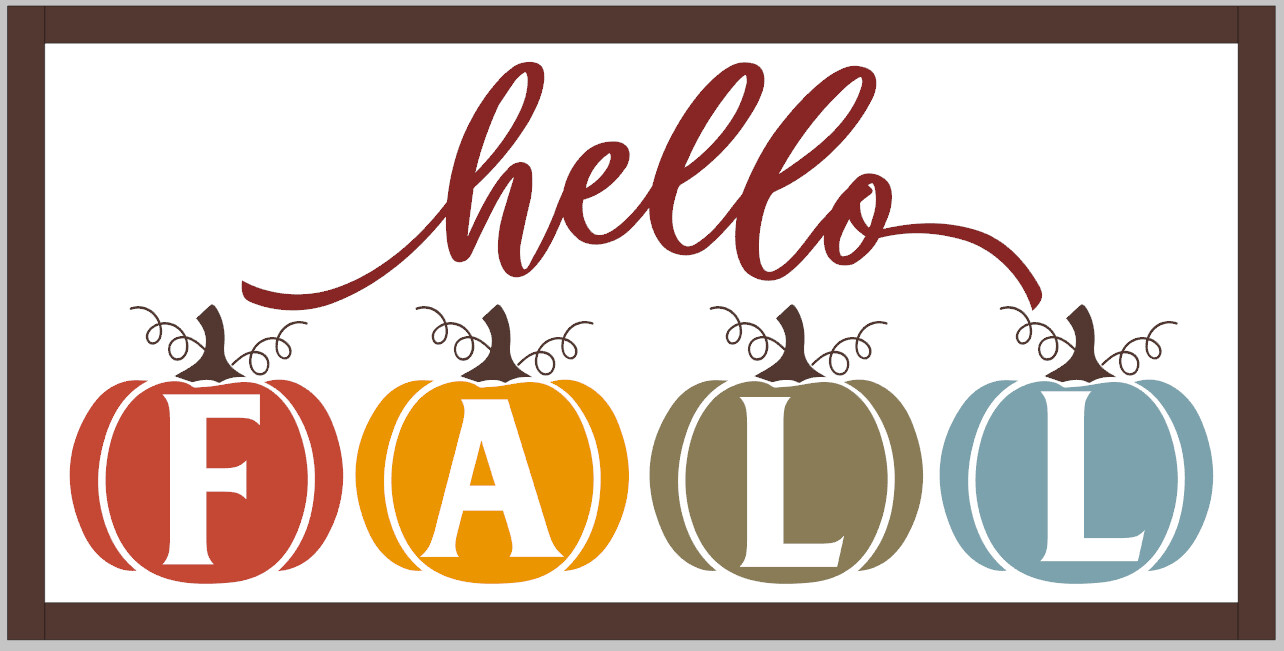 Hello Fall with Pumpkins (framed)