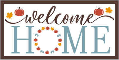Fall Welcome Home with Pumpkins and Leaves (framed)