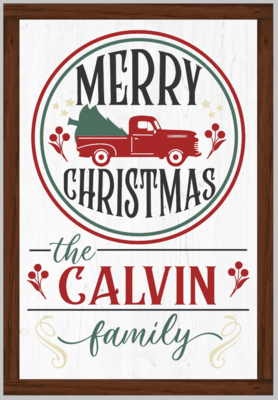 Personalized Merry Christmas Wood Framed
