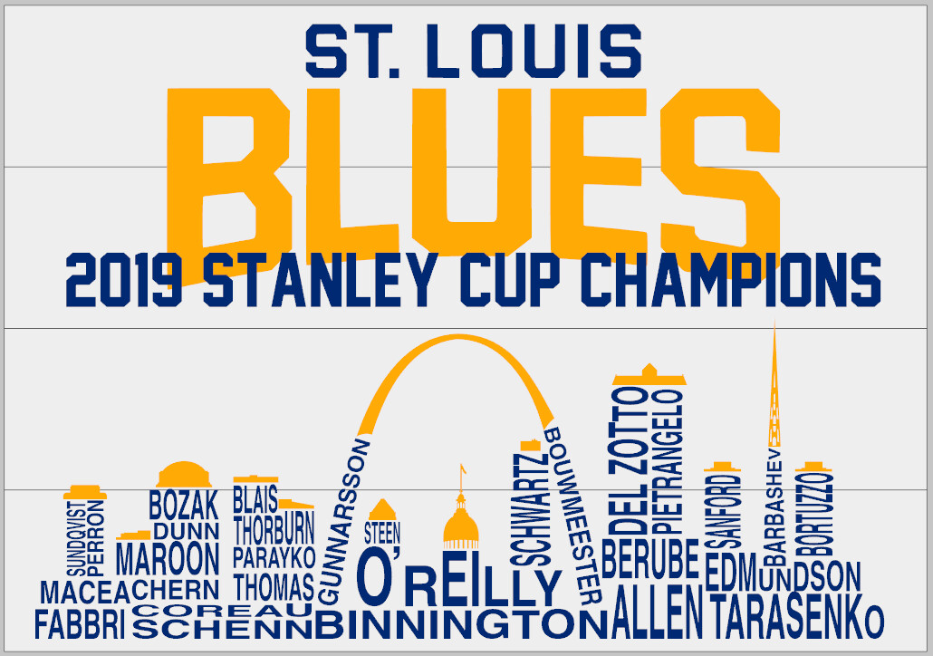 St. Louis Blues Cup Winners 2019 Skyline with Names