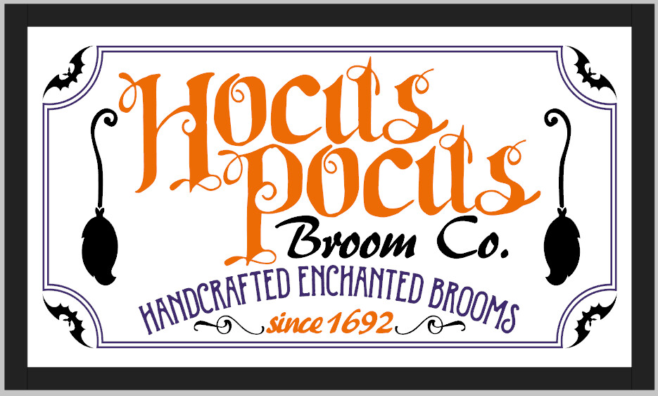 Hocus Pocus Broom Co Wood Framed Sign