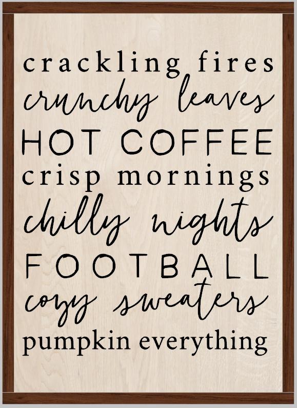 Autumn Fall Pumpkin Fire Subway Word Art (framed)