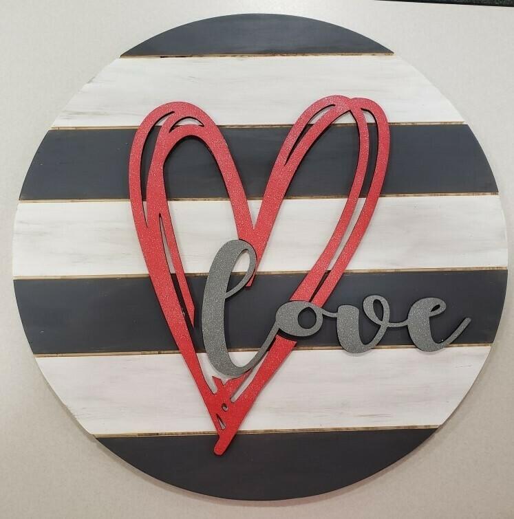 LOVE Round 3D Shiplap Sign