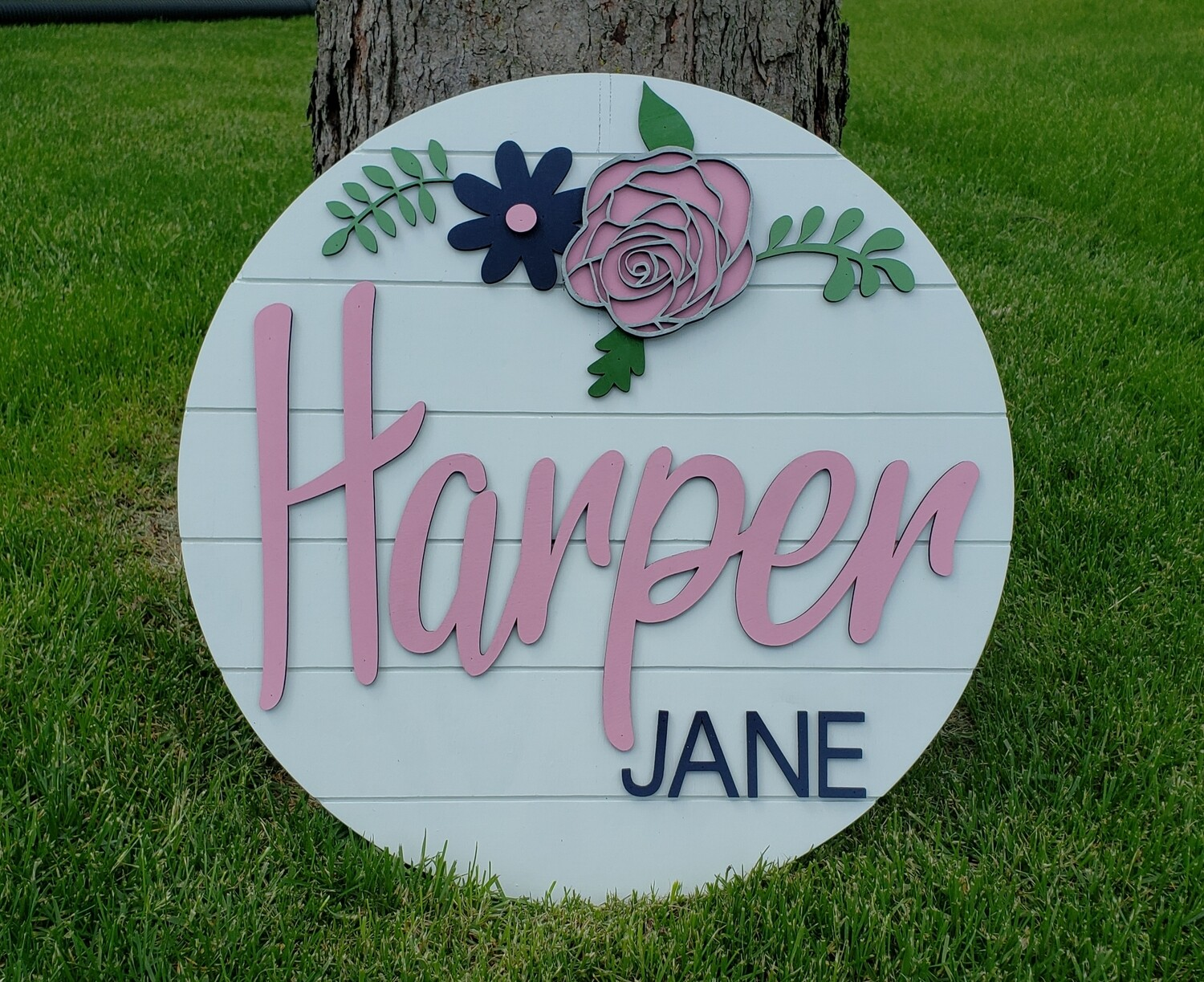 "Customized Name Shiplap 20"" 3D Round Wood Sign"