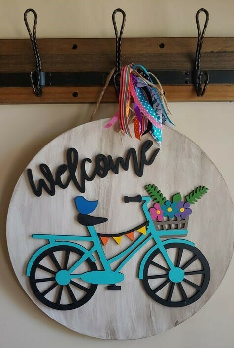 "Welcome Bicycle 3D 18"" Round Wood Sign"