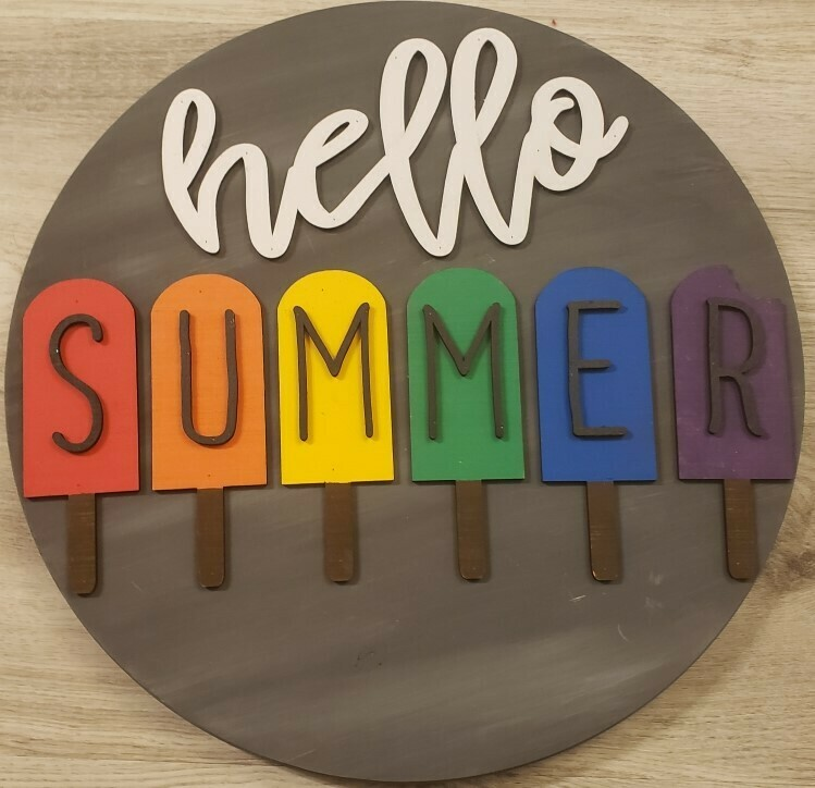 "Hello Summer Popsicle 3D 18"" Round Wood Sign"