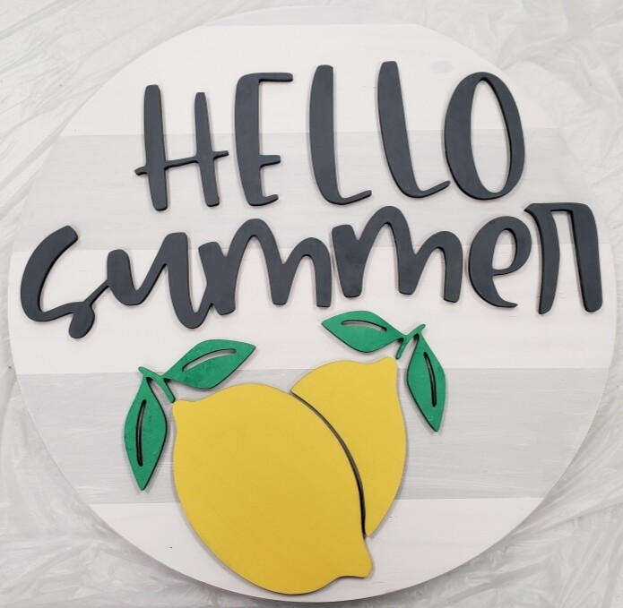 "Hello Summer Lemom 3D 18"" Round Wood Sign"