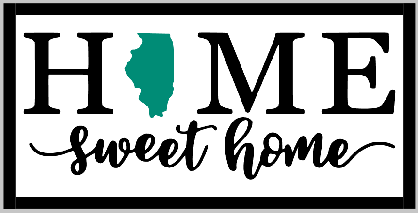State Home Sweet Home with Frame