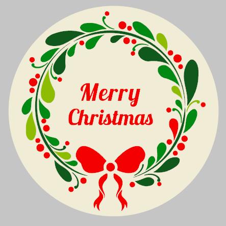 Round Merry Christmas Wreath