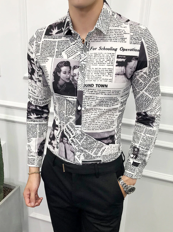 Camisa Lisa de Periodico Slim Fit Hombre Korean Style
