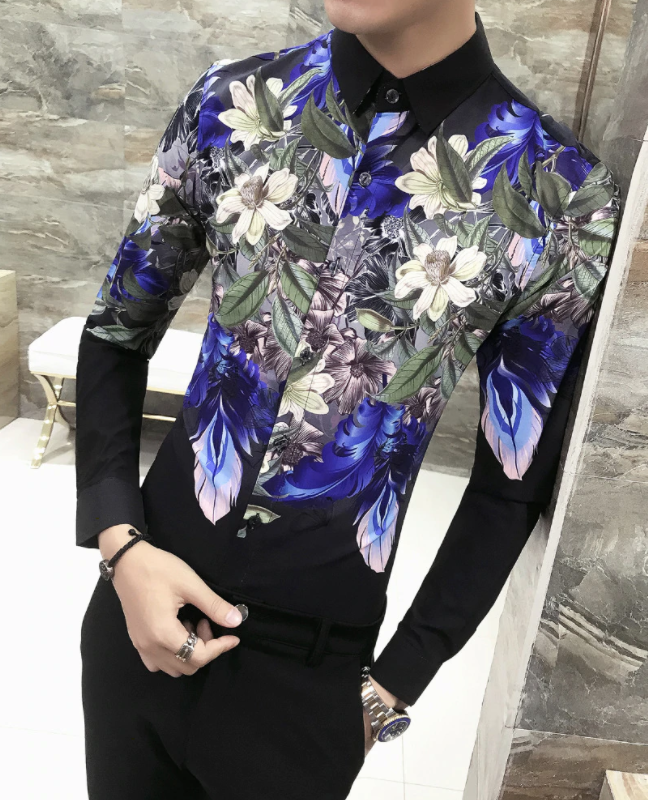 Camisa Lisa con Estampado Slim Fit Hombre Korean Style