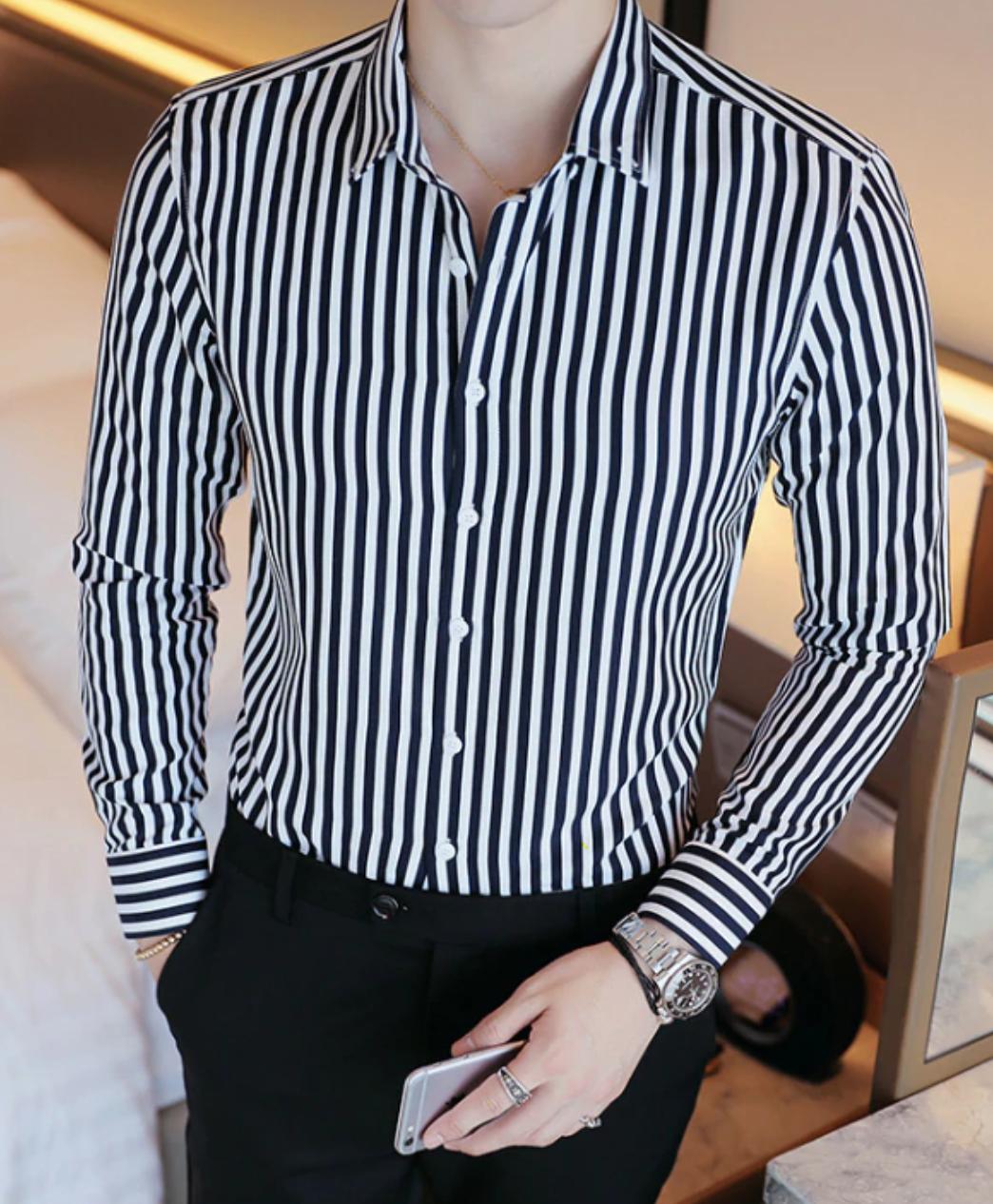 Camisa Lisa de Rayas Slim Fit Hombre Korean Style