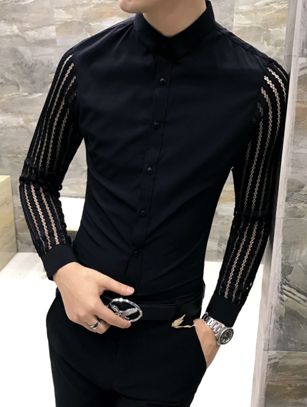 Camisa Lisa de manga transparente Slim Fit Hombre Korean Style
