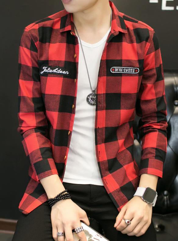 Camisa Lisa de cuadros Slim Fit Hombre Korean Style
