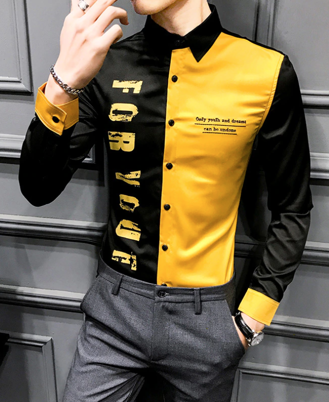 Camisa Lisa Estampada Slim Fit Hombre Korean Style