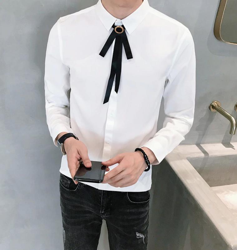 Camisa Lisa Slim Fit Hombre Korean Style