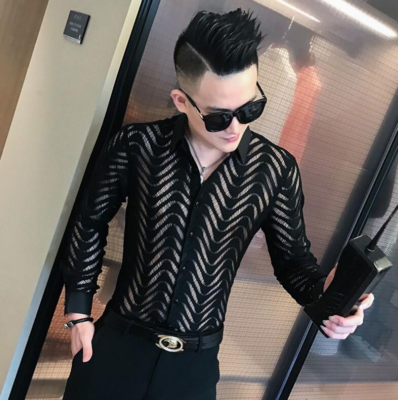 Camisa de encaje Slim Fit Hombre Korean Style