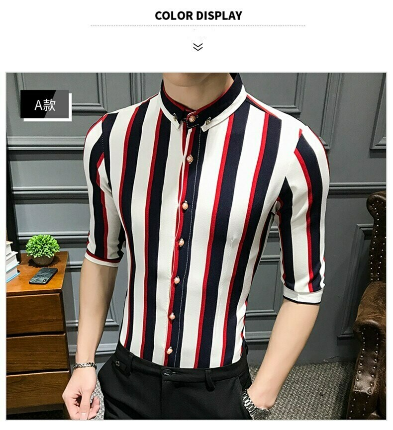 Camisa Lineas  Slim Fit Hombre Korean Style