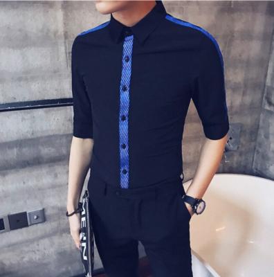 Camisa con Cinta Empalmada Slim Fit Hombre Korean Style