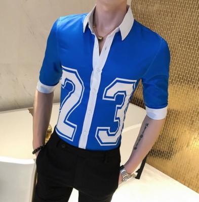 Camisa Estampada con manga 3/4 Slim Fit Hombre Korean Style