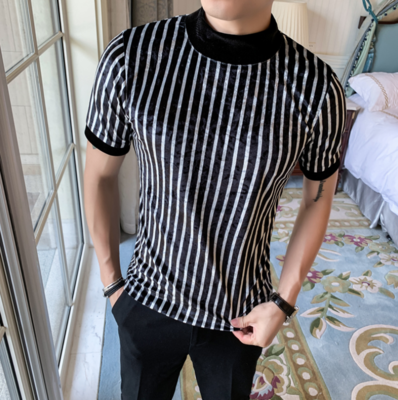 Camisa de Rayas con Cuello Alto Slim Fit Hombre Korean Style