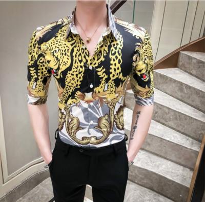 Camisa con Estampado de Leopardo Slim Fit Hombre Korean Style