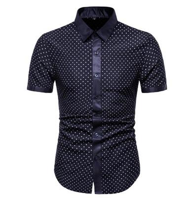 Camisa Puntos Slim Fit Hombre Korean Style