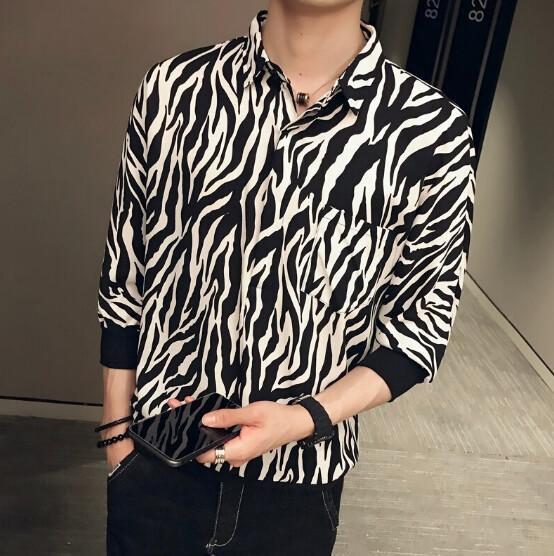 Camisa Zebra  Slim Fit Hombre Korean Style