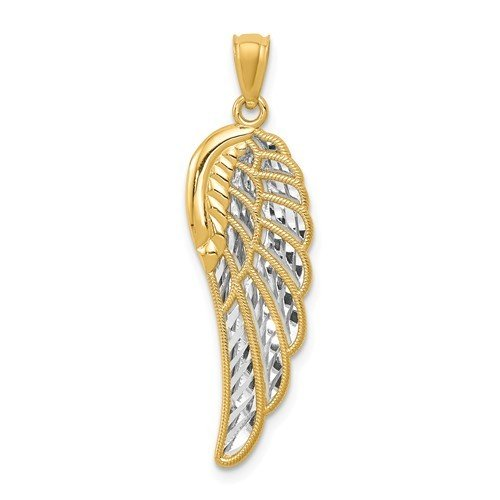 14k And Rhodium Polished Two Level Angel Wing Pendant