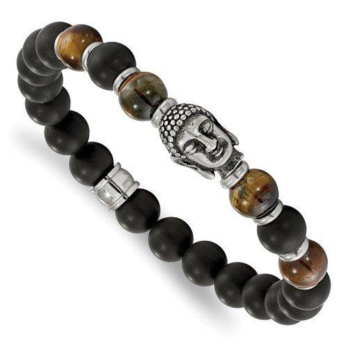 Stainless Steel Buddha Black Agate Tiger Eye Beaded Stretch Bracelet