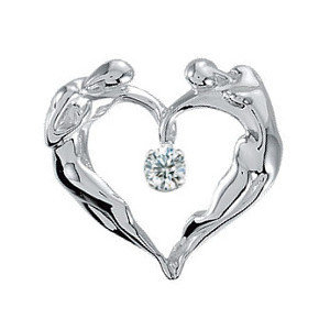 14k White Gold Heart/Gem Necklace