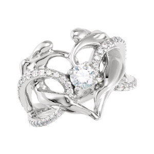 14k Diamond Accented Heart Ring