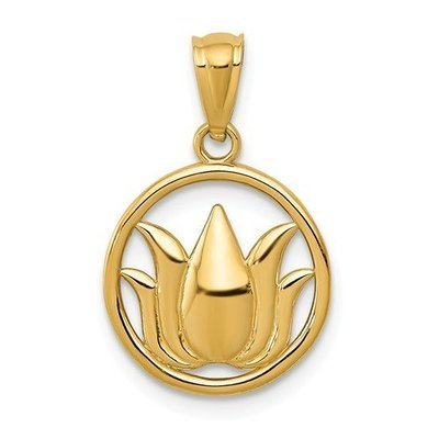14k Gold Polished Lotus Flower In Circle Pendant