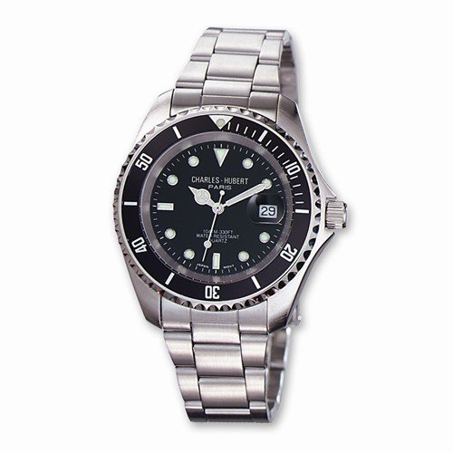 Mens Charles Hubert Stainless Steel Black Dial With Date Watch