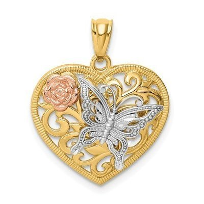 14k Tri Color Butterfly Heart Pendant