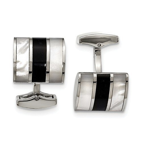 Stainless Steel Onyx Mother of Pearl Cuff Links