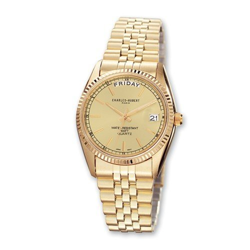 Mens Charles Hubert IP-Plated Champagne Dial Watch